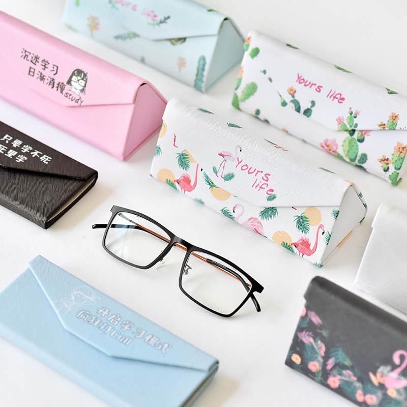 小清新创意三角折叠眼镜盒女简约抗压便携收纳盒学生近视眼睛盒