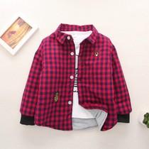 男童加棉衬衫婴儿童宝宝加厚夹棉衬衣女1-6岁3小童红格子寸衫外套