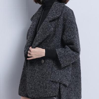 2018秋冬新款斗篷毛呢外套女短款潮气质宽松大码女士羊毛呢料大衣