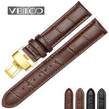 VETOO真皮表带小牛皮手表带男女金色蝴蝶扣帝舵真力时宝龙适用