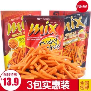 原味脆脆条薯条香辣多味袋装30gX3咪咪条MIXVFOODS泰国进口零食