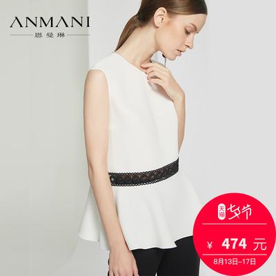 恩曼琳18夏新气质圆领无袖雕花拼接荷叶边女雪纺蕾丝衫EAN8BA35