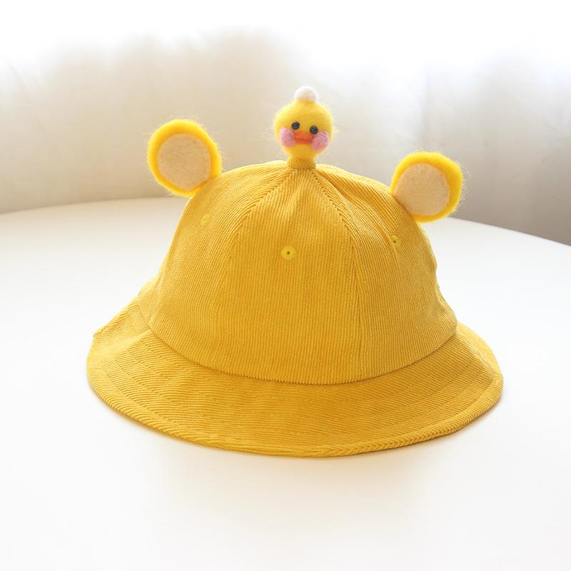 麦穗家可爱小黄帽儿童豆芽盆帽渔夫帽亲子帽盆帽灯芯绒宝宝帽子