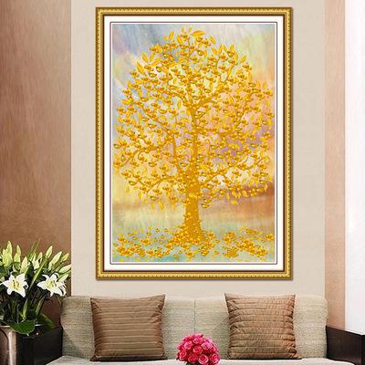 新款钻石画竖版黄金满地客厅办公室满钻十字绣生意兴隆摇钱发财树哪里便宜