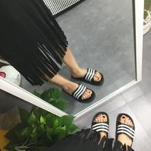 韩国ulzzang国民拖鞋居家鞋女百搭条纹情侣拖鞋防滑一字拖凉拖男