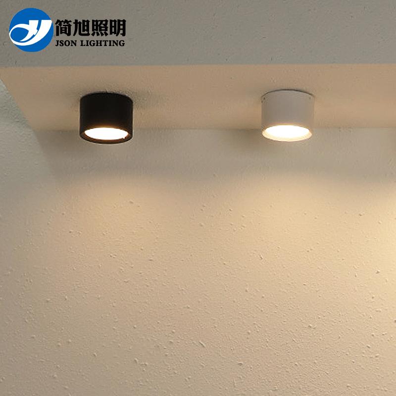 led明装筒灯圆形免开孔吸顶式7W12W走廊过道灯吊线商用店铺射灯具
