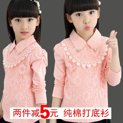 女童打底衫4长袖纯棉秋装5儿童6T恤7宝宝8加绒白色12蕾丝上衣13岁