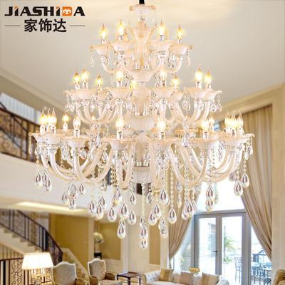 歐式客廳水晶燈復式樓別墅大吊燈簡約蠟燭復古樓梯創意長燈具8088