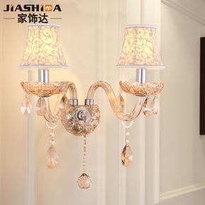 简约水晶壁灯单双卧室床头灯简欧蜡烛过道灯欧式客厅餐厅灯具5188