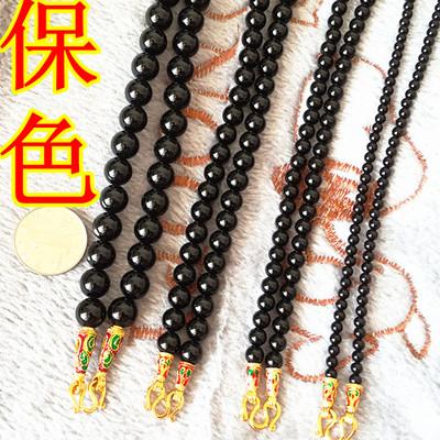 不易褪色 纯黑色天然黑玛瑙4/6/8MM10毫米泰国佛牌链项链子男女款
