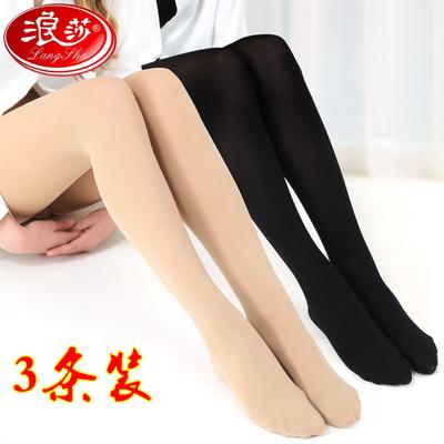3条丝袜女连裤袜防勾丝春夏大码中厚薄黑肤色打底裤浪莎连脚丝袜