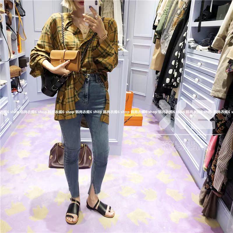韩国东大门女装代购 2018年秋季新款X2修身显瘦潮流百搭牛仔裤