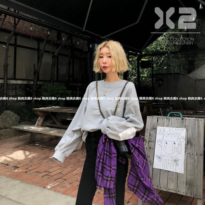 韩国东大门女装代购 2018年秋季新款X2纯色百搭韩版时尚休闲卫衣