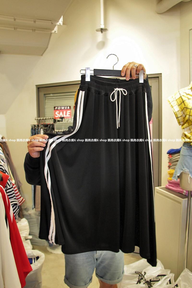 韩国东大门女装代购 2018年夏季新款WALLPAPER松紧两条杠半身裙