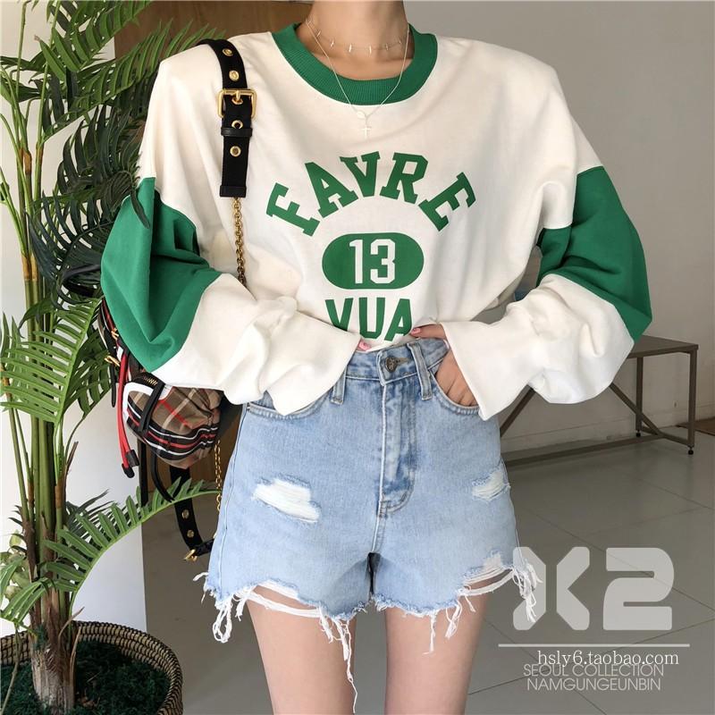韩国东大门代购女装2018春季新款X2圆领字母拼色卫衣