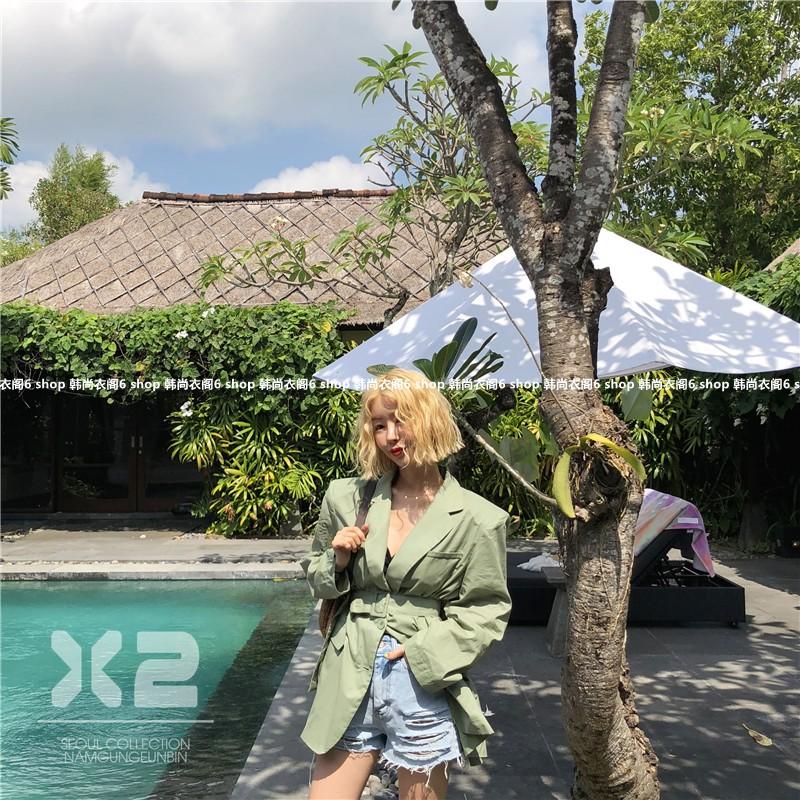 韩国东大门女装代购 2018年夏季新款X2字母时尚外套百搭翻领西装