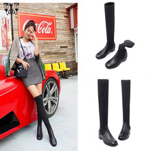 Autumn and Winter 2019 New Type of Leather High-barrel Cowskin Women's Leather Boots, Socks, Boots Over Knee, Long Boots, Slim Legs, Wool and Elastic Boots