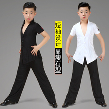 Boys Latin Dance Dress Boys Short-sleeved Boys and Teenagers Competition Performing Performance Gonggong Clothing Summer