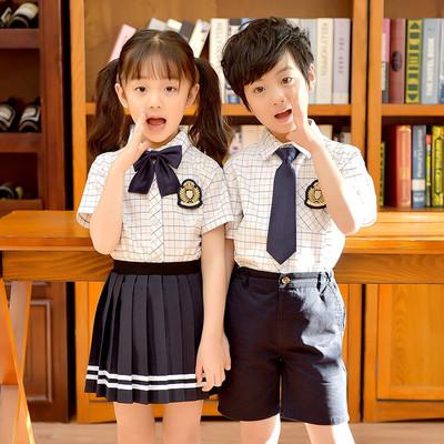 幼儿园园服男女童夏季短袖格子衬衫英伦学院风小学生校服班服套装