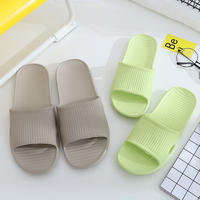 Striped slippers female summer couple non-slip bathroom care shoes men summer home home indoor home bath slippers