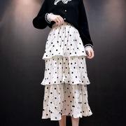 秋冬高腰中长款棉麻不规则a字层层褶皱波点荷叶边蛋糕裙半身裙子