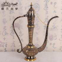 巴基斯坦特色大把壶工艺品16英寸手工刻花海外民族铜器搬新家饰品