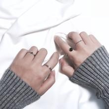 韩国饰品 黑色珠子水波纹镂空银色戒指组合 女日韩潮人极简风J020