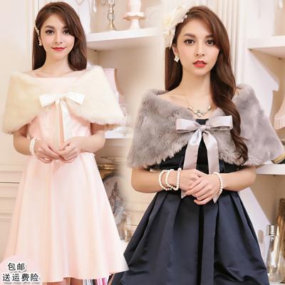 婚礼新娘毛披肩旗袍外搭女士秋冬季结婚纱小礼服伴娘皮草外套3396