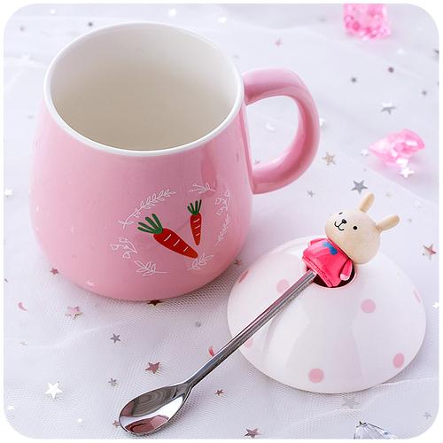 创意简约杯子陶瓷个性水杯女学生韩版韩国清新可爱马克杯带盖带勺