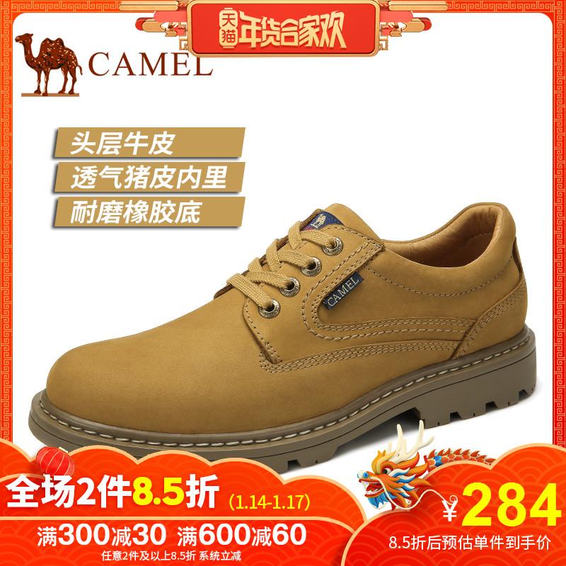 Camel/骆驼冬季男士舒适反绒防滑真皮工装潮流大头工装鞋休闲鞋