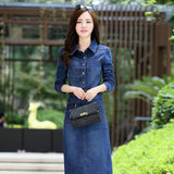 High-end women's skirt 19 autumn thin young middle-aged women's denim skirt casual young women mid-length denim dress