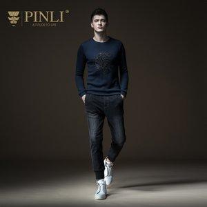 PINLI品立毛衣男 套头圆领秋季新款长袖线衣修身绣花男士针织衫潮