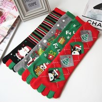 Winter Christmas gift gifts men and women cute Christmas tree snowflake socks long Five Finger socks wholesale manufacturers