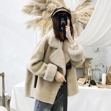 澳洲进口羊剪绒大衣女2018新款短款皮毛一体颗粒羊毛海宁皮草外套