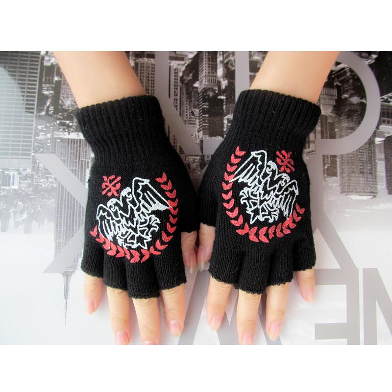 包邮男女新款个性鬼爪骷髅五指手套秋冬保暖毛线半指半截键盘手套