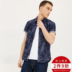 【2件9折】 JackJones杰克琼斯纯棉印花短袖衬衫O 217204518
