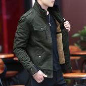 春秋季外套男青中年秋冬装休闲纯棉宽松加绒加厚男装夹克短款工装