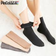 天鹅绒短丝袜女秋冬款中筒肉色加厚加绒女士袜子冬季黑色短袜保暖