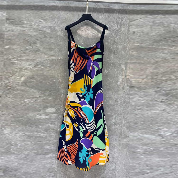 夏季新款2019年欧美女装 不规则印花吊带连衣裙E11