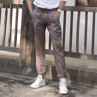 亚麻裤男系带宽松直筒裤夏季薄款男士纯麻休闲裤长裤水洗麻料裤子