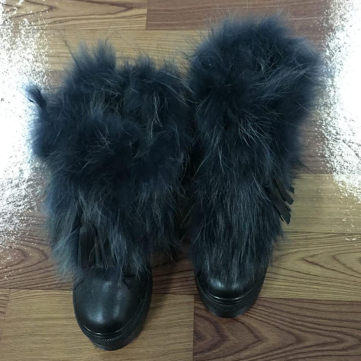 狐狸毛真皮厚底女靴