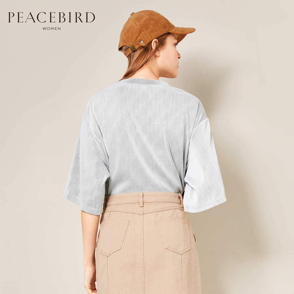 【商场同款】太平鸟女装2018春装新款低圆领印花短袖街头风T恤女
