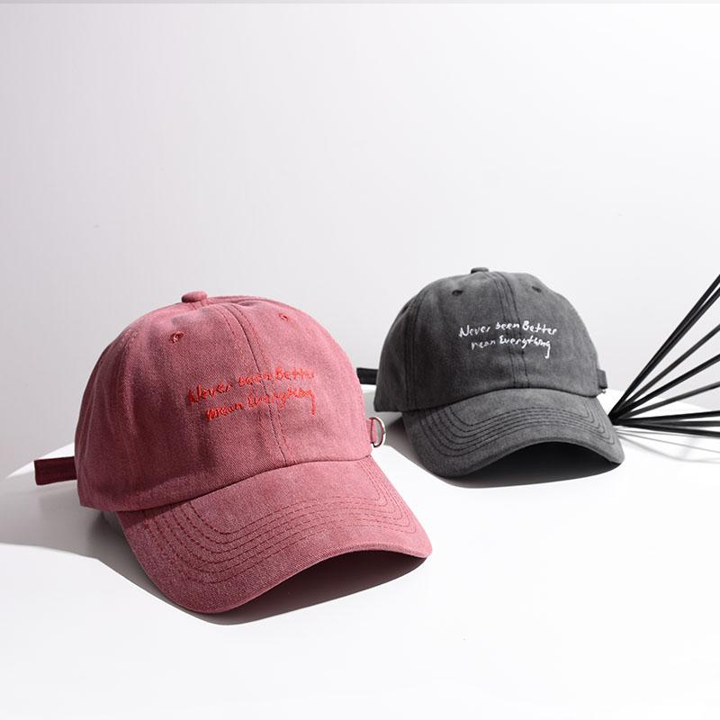 ins帽子复古水洗做旧纯棉棒球帽韩版男女刺绣字母秋天遮阳鸭舌帽