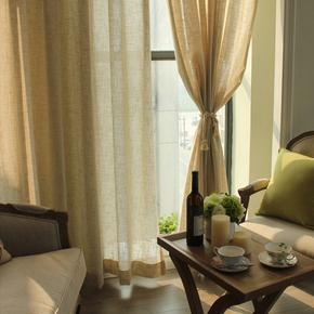 苎麻天然日式美式中式素色纯色棉麻窗帘厚亚麻纱帘窗纱定制帘花记