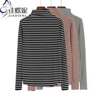 秋冬新款韩版半高领修身长袖条纹棉简约T恤打底衫女装显瘦上衣