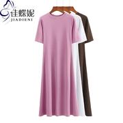 夏季新款韩版圆领修身显瘦短袖长款连衣裙纯棉纯色简约休闲女装