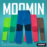 Moomin children's outdoor soft shell pants spring and autumn charge pants velvet inside thickened casual sports pants
