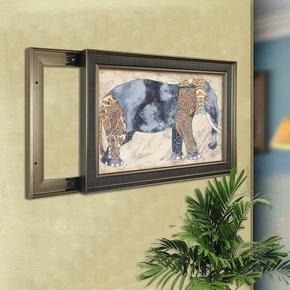 欧美式室内电表箱墙面装饰挂画玄关走廊门厅墙壁配电箱遮挡推拉画