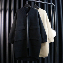 DOR. Double-sided Nippon Pocket Loose Knitted cardigan Overcoat Mid-long Thickened New Autumn and Winter 2018