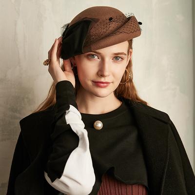 诗丹凯萨 贝雷帽女 秋冬季复古英伦蓓蕾帽羊毛呢网纱名媛小礼帽子